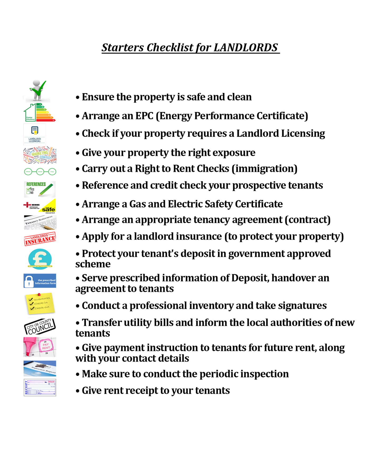 STARTERS CHECKLIST FOR LANDLORDS!!!
