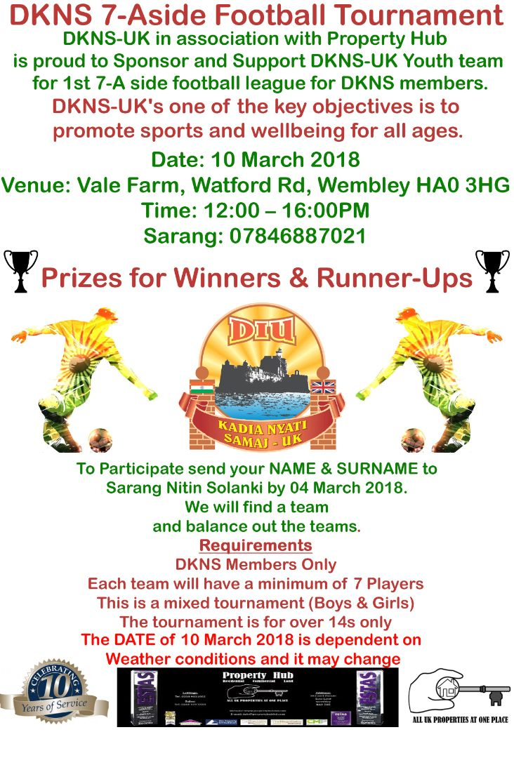 DKNS Football Tournament: 10TH March 2018
