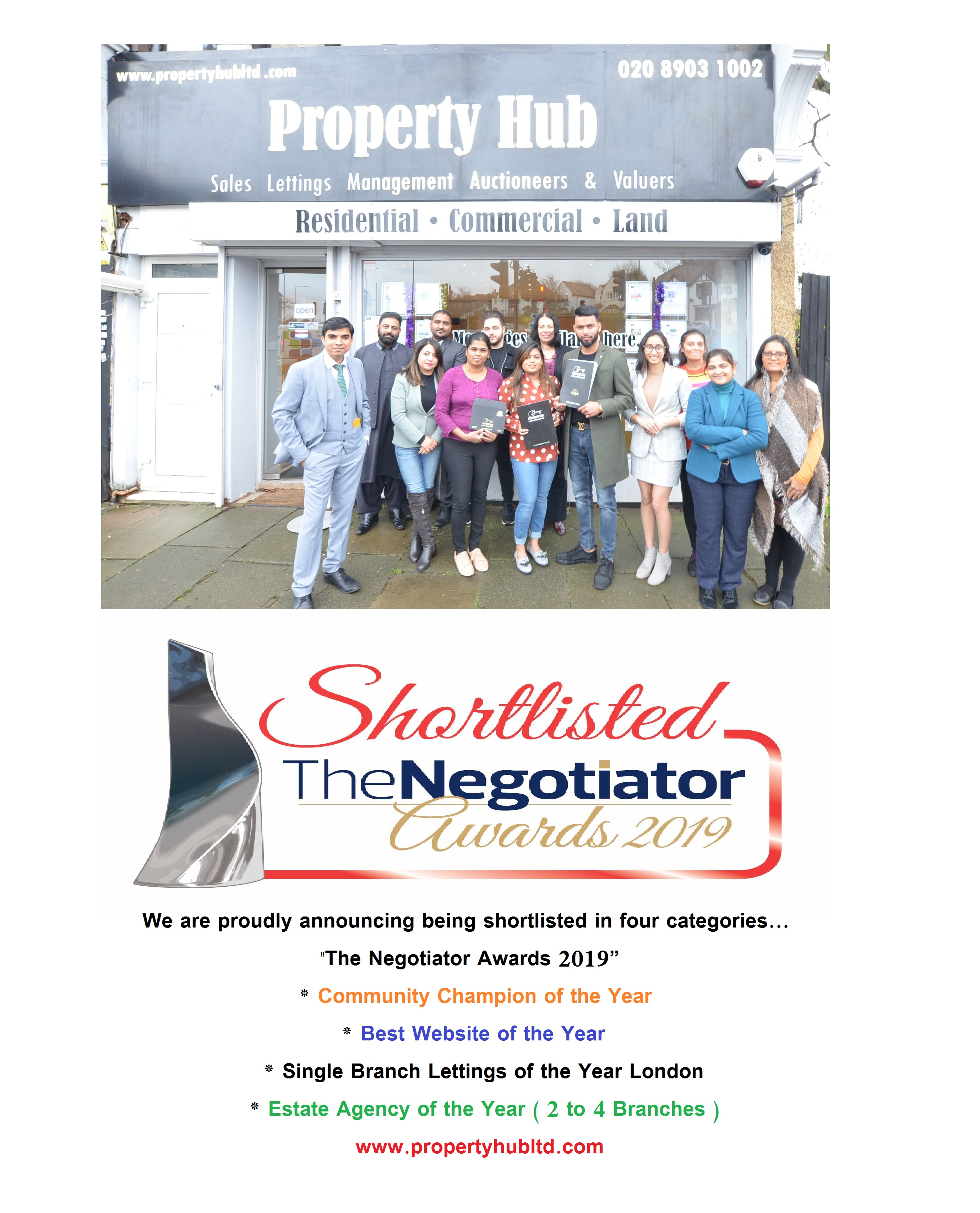PROPERTY HUB SHORTLISTED FOR THE NEGOTIATORS AWARD