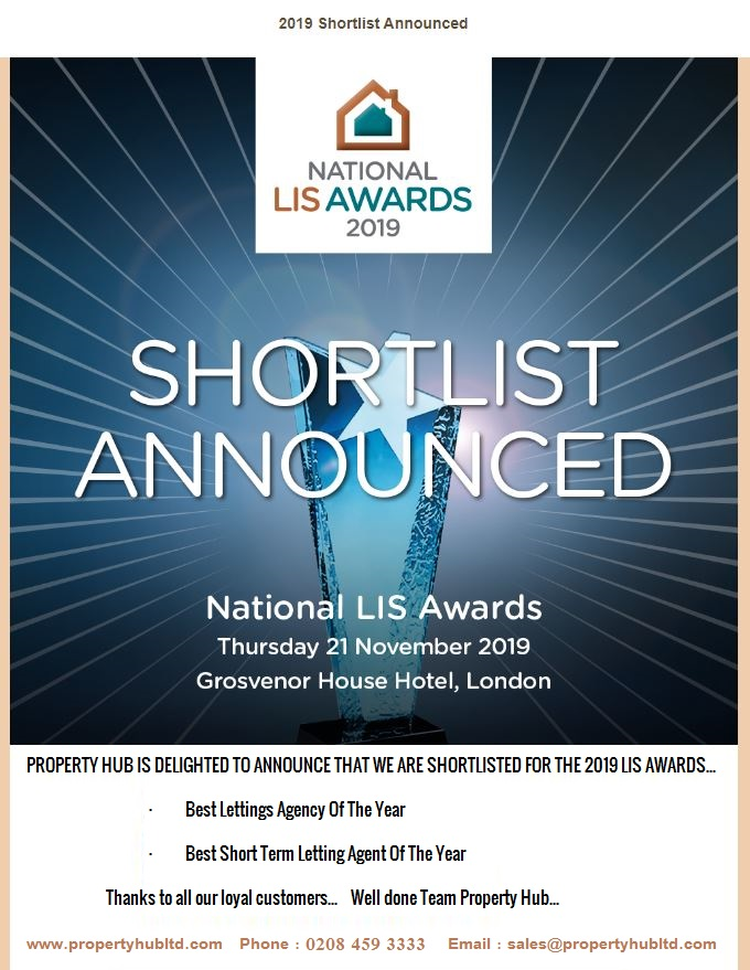 PROPERTY HUB IS DELIGHTED TO ANNOUNCE THAT WE ARE SHORTLISTED FOR THE 2019 AWARDS
