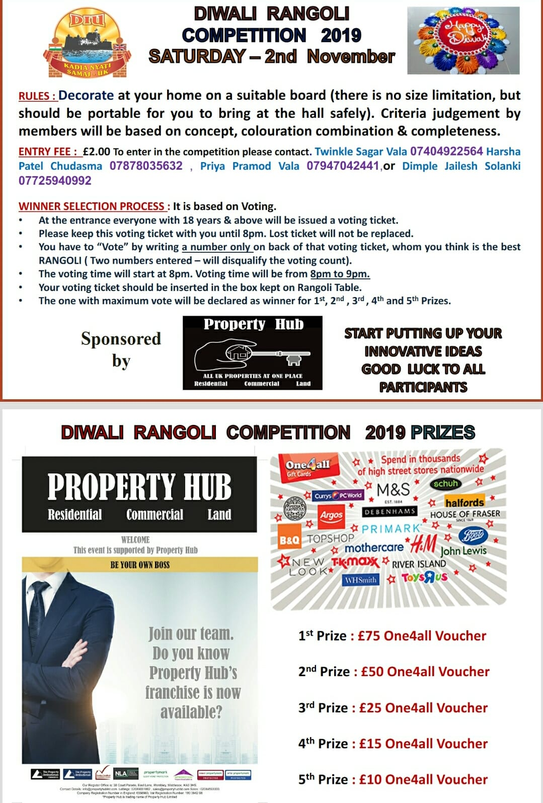 PROPERTY HUB IS PROUD TO SPONSOR DKNS-UK DIWALI RANGOLI COMPETITION