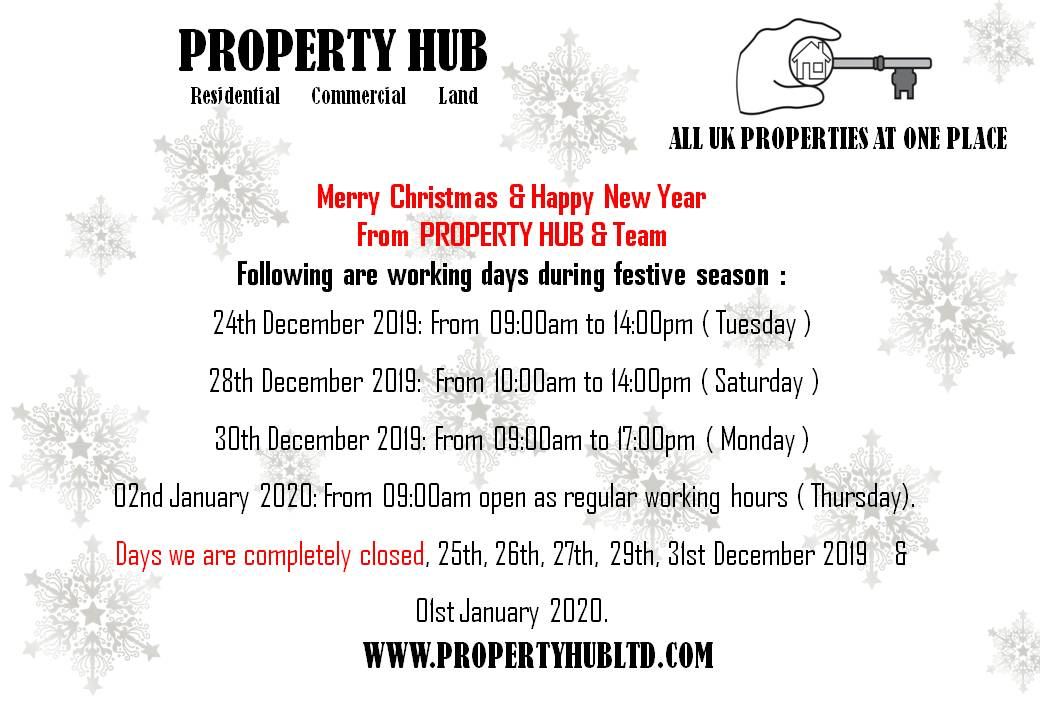 PROPERTY HUB'S CHRISTMAS CLOSING DATES & TIMES