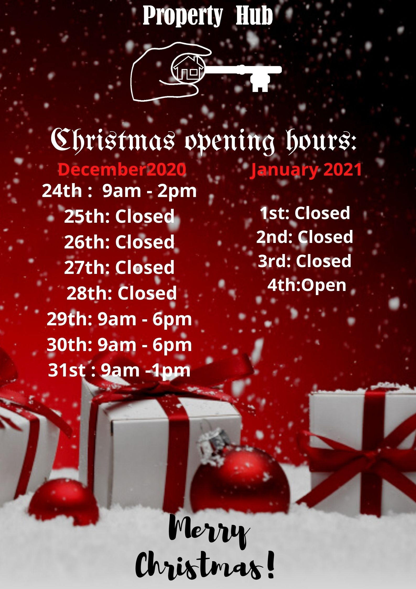 Christmas Opening and Closing Times